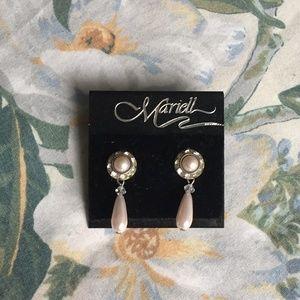 Vintage Mariell Pink Fake-Pearl Bridal Earrings